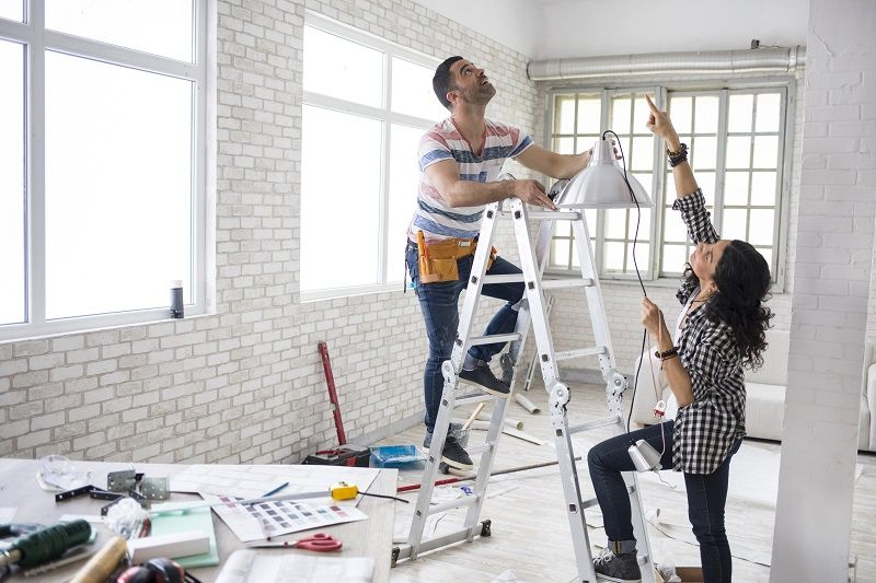 Couple renovating their apartment